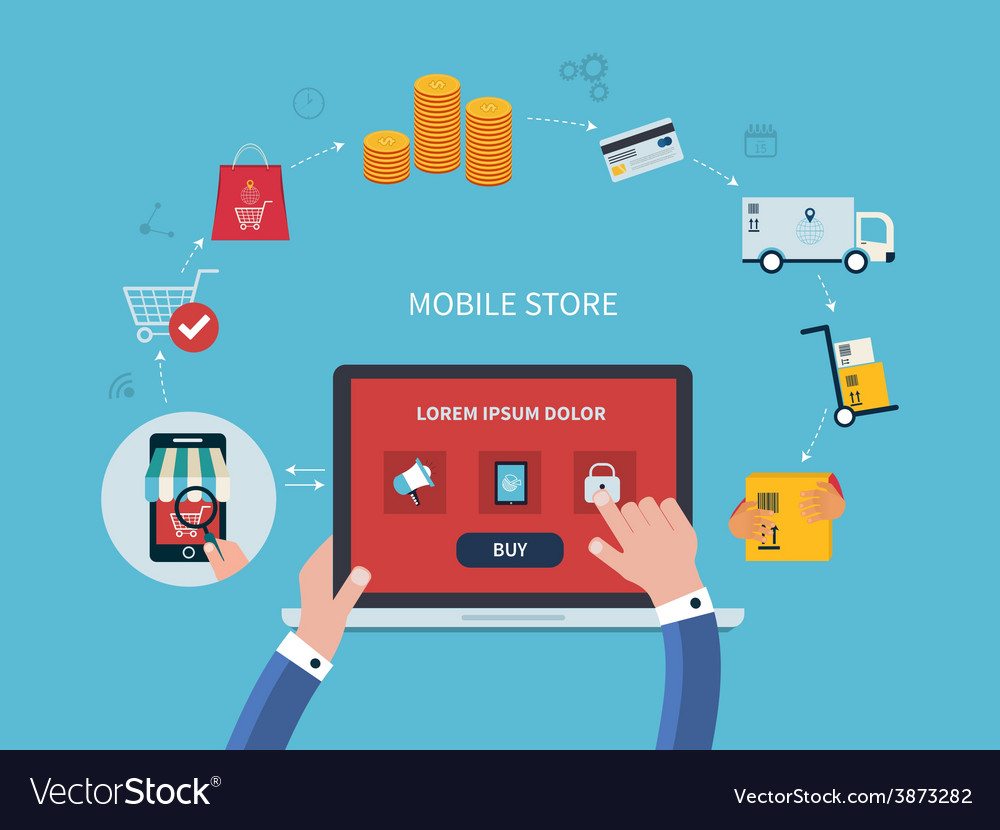 Flat design with e-commerce and online Royalty Free Vector