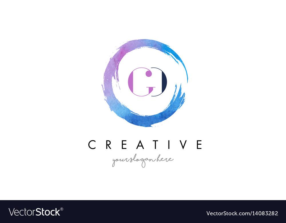 Go letter logo circular purple splash brush vector image