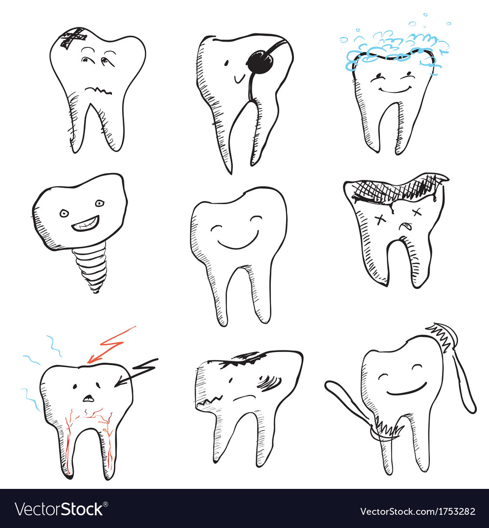 Hand drawn funny teeth icons collection