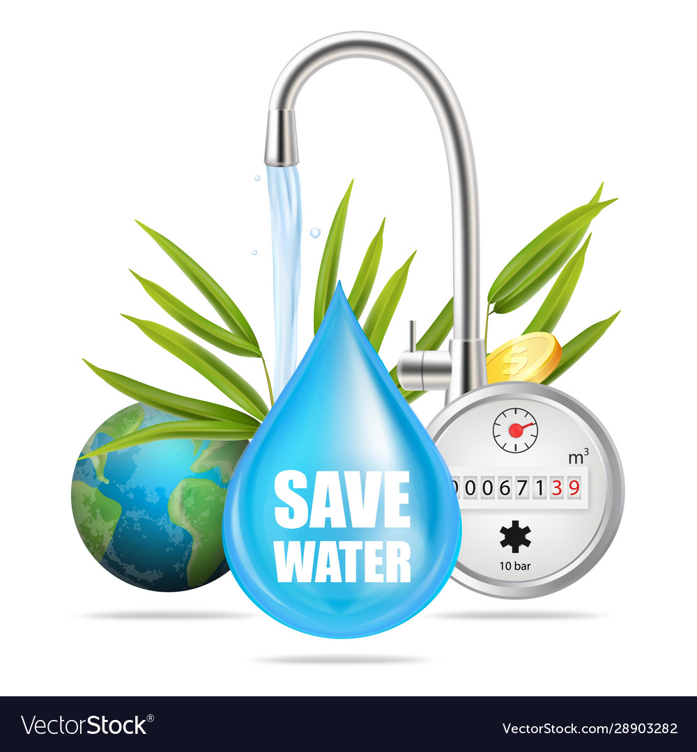 Save water natural precious resource concept