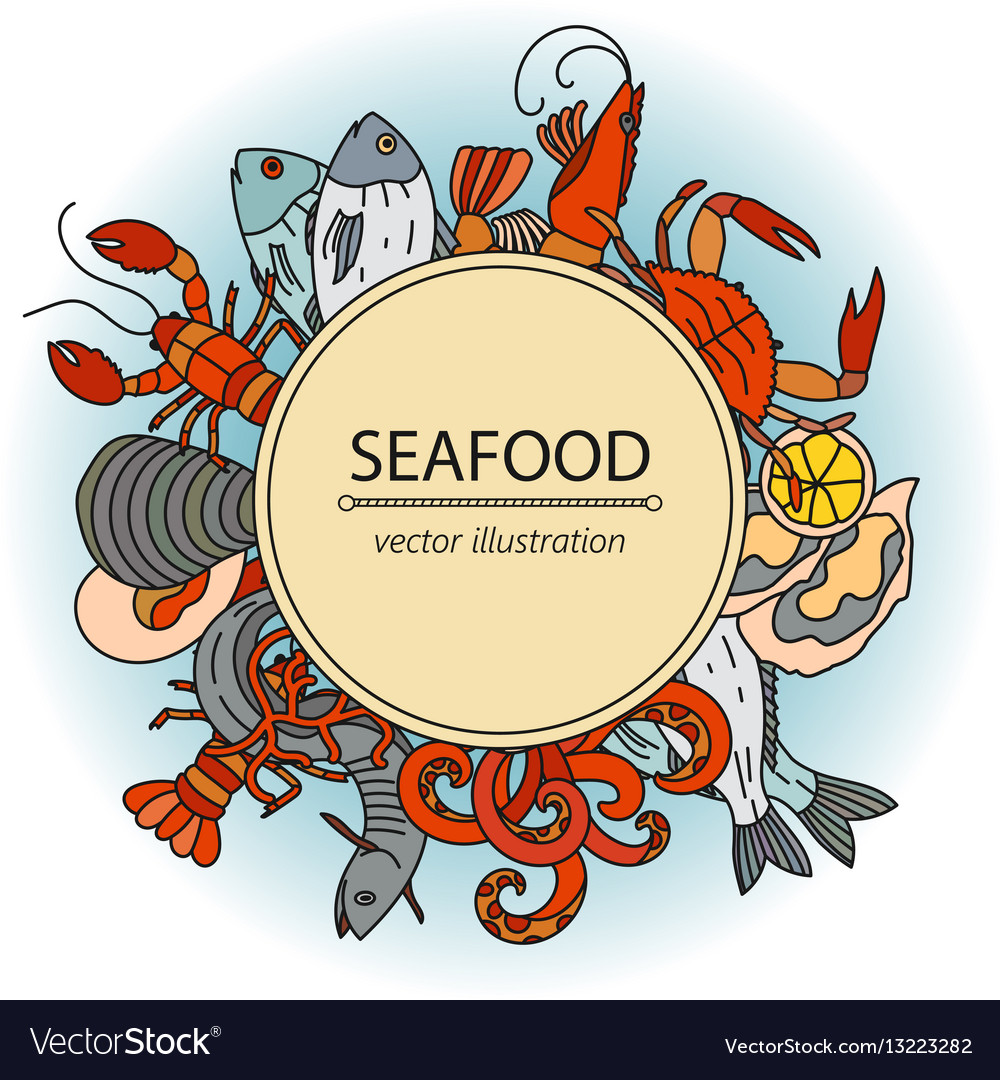 Seafood card with symbols of various