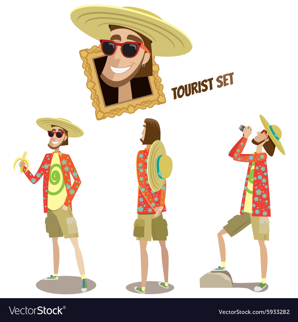 Set of tourists vector image