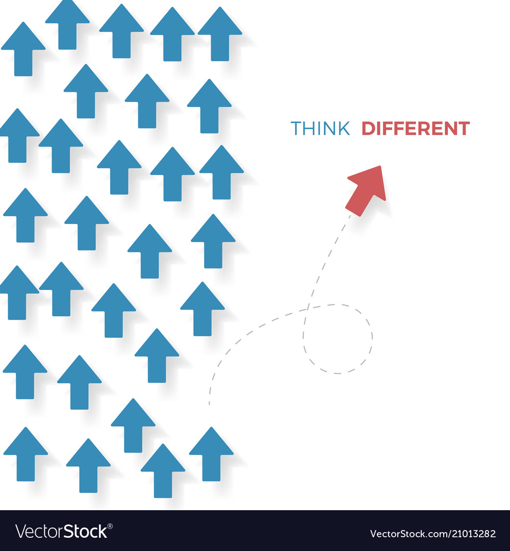 Think different a red arrow move different way