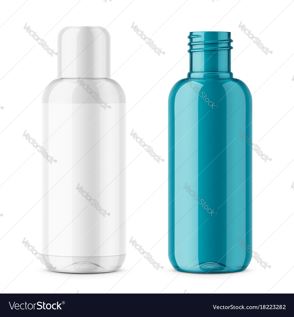 Transparent plastic cosmetic bottle template vector image