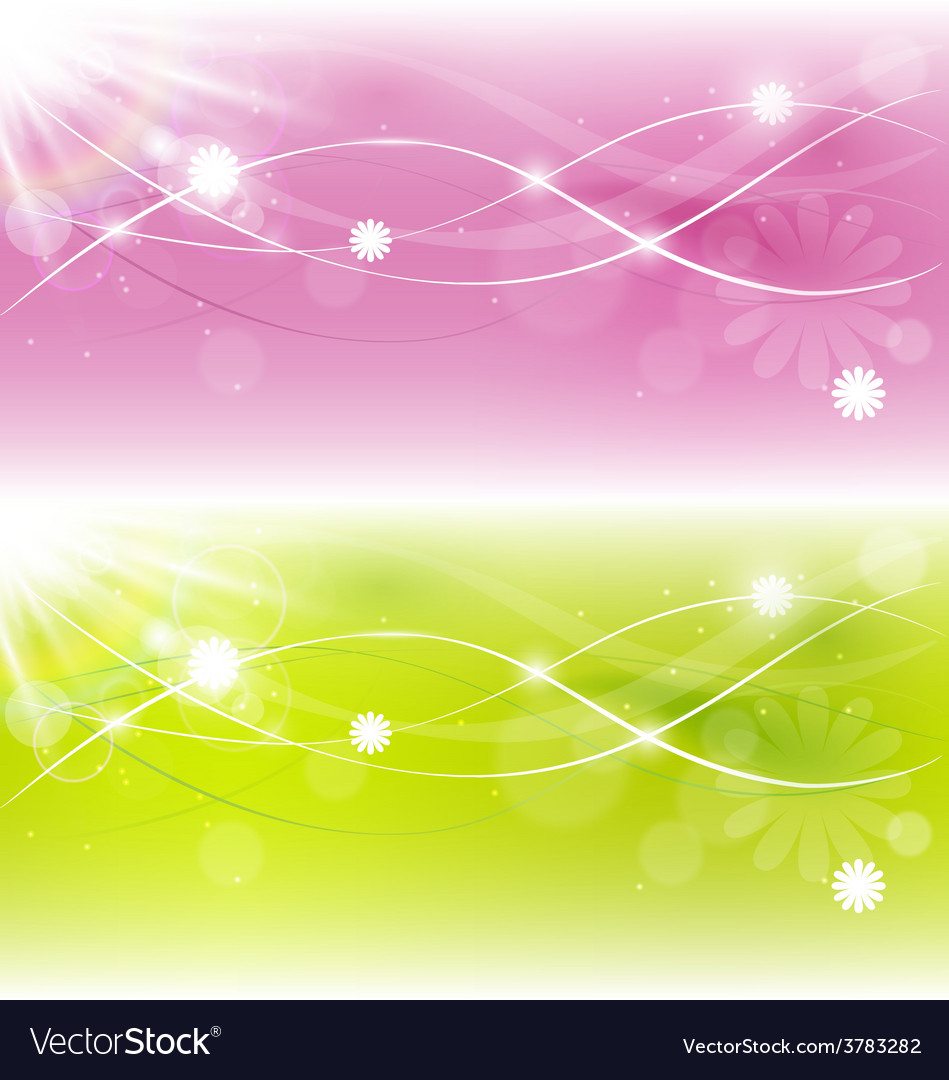 Two abstract spring background with sunlight