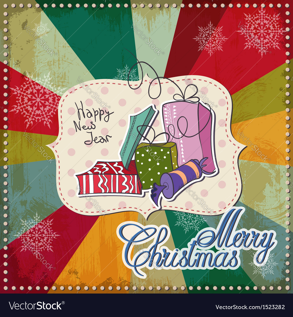Vintage christmas card merry christmas lettering