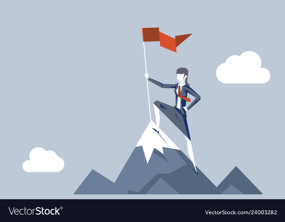 Woman conquering heights flag businesswoman