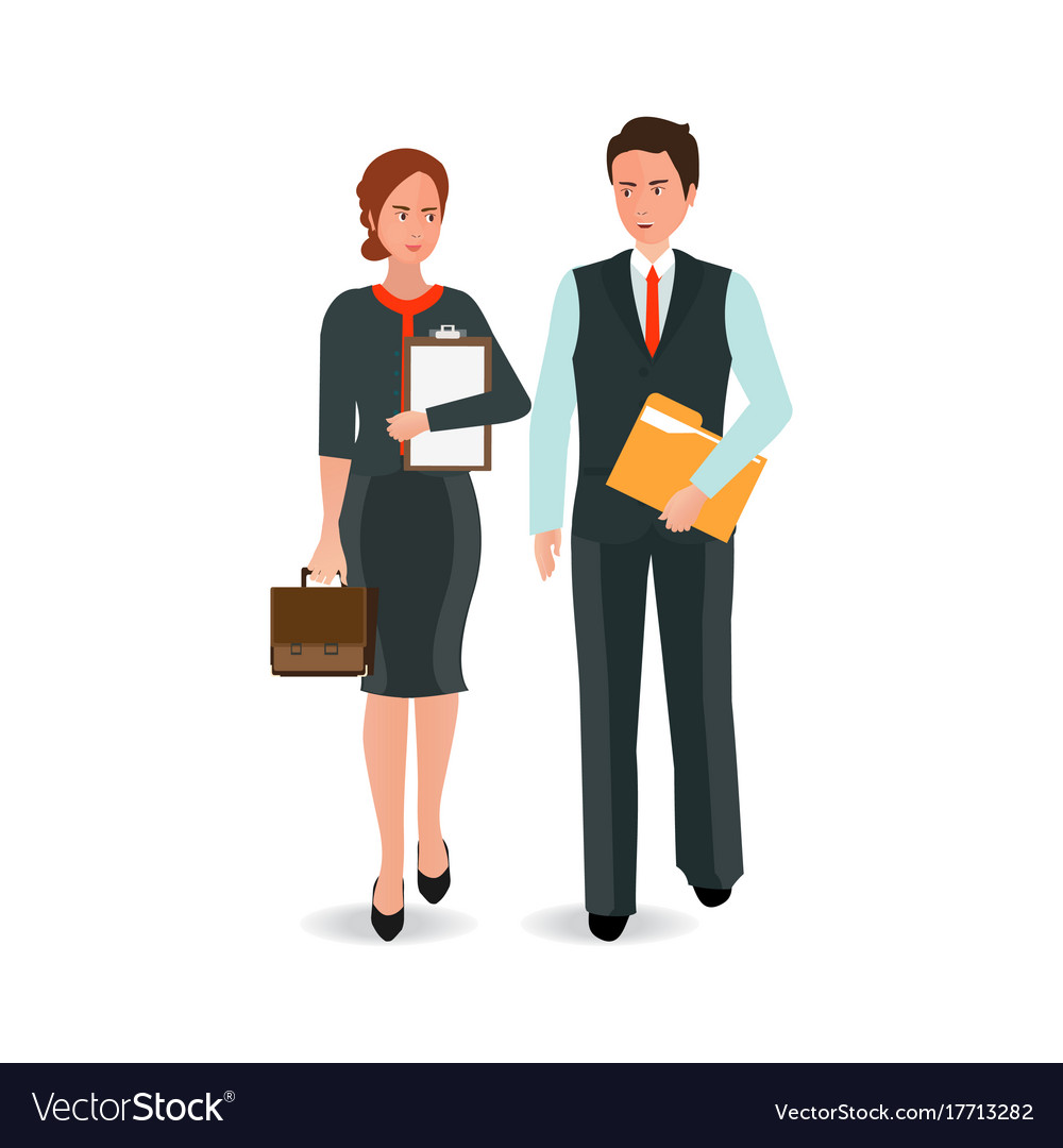 Young business man and woman in suit walking