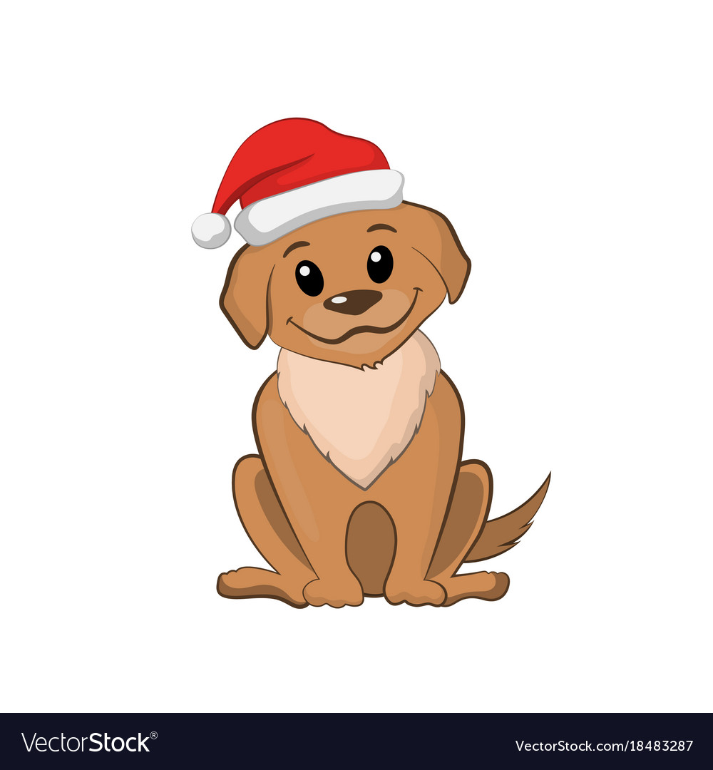 Brown puppy in christmas hat cute dog
