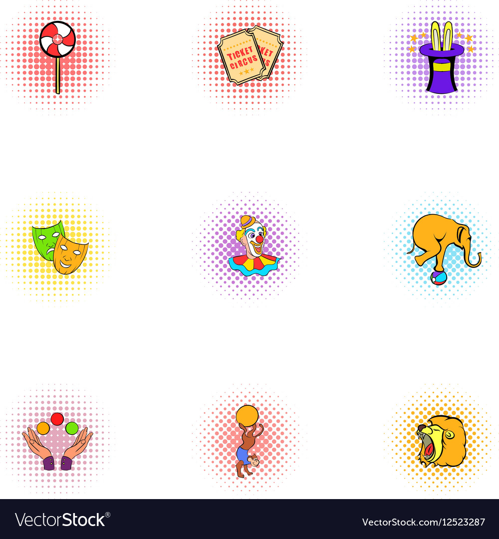 Circus performance icons set pop-art style vector image