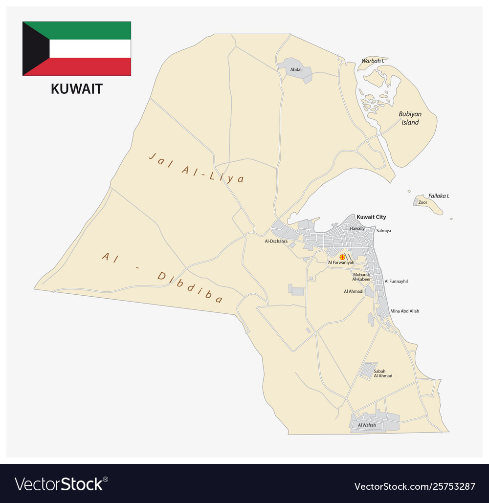 Detailed road map kuwait with flag