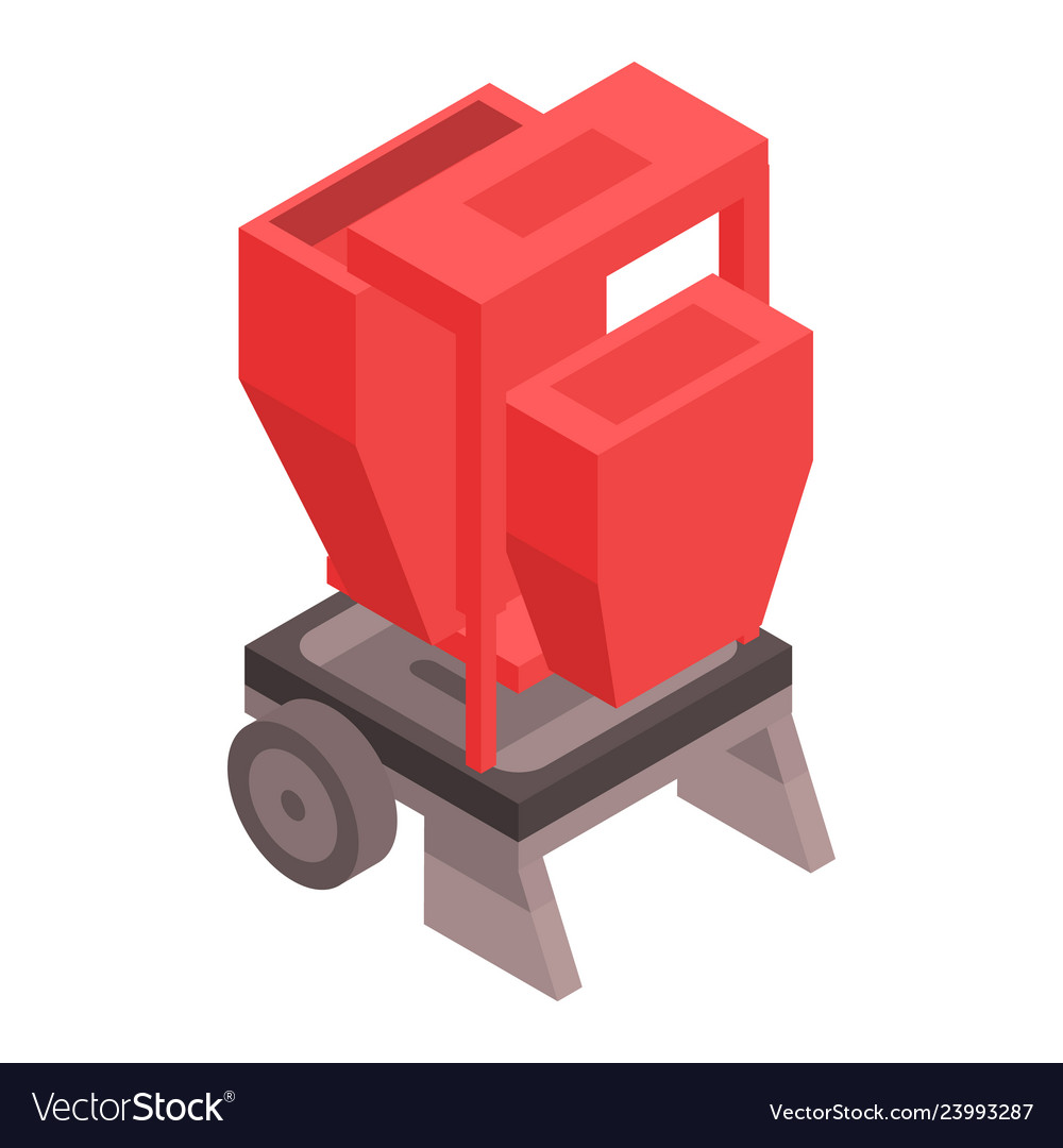 Farm red machinery icon isometric style