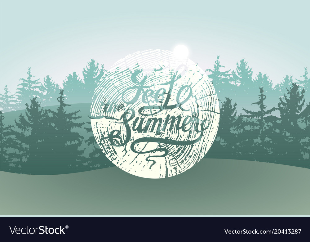 Feel the summer calligraphic grunge badge vector image