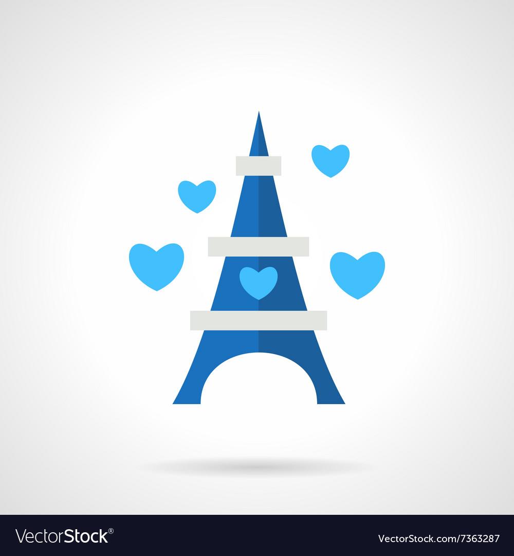 Flat blue romantic trip icon