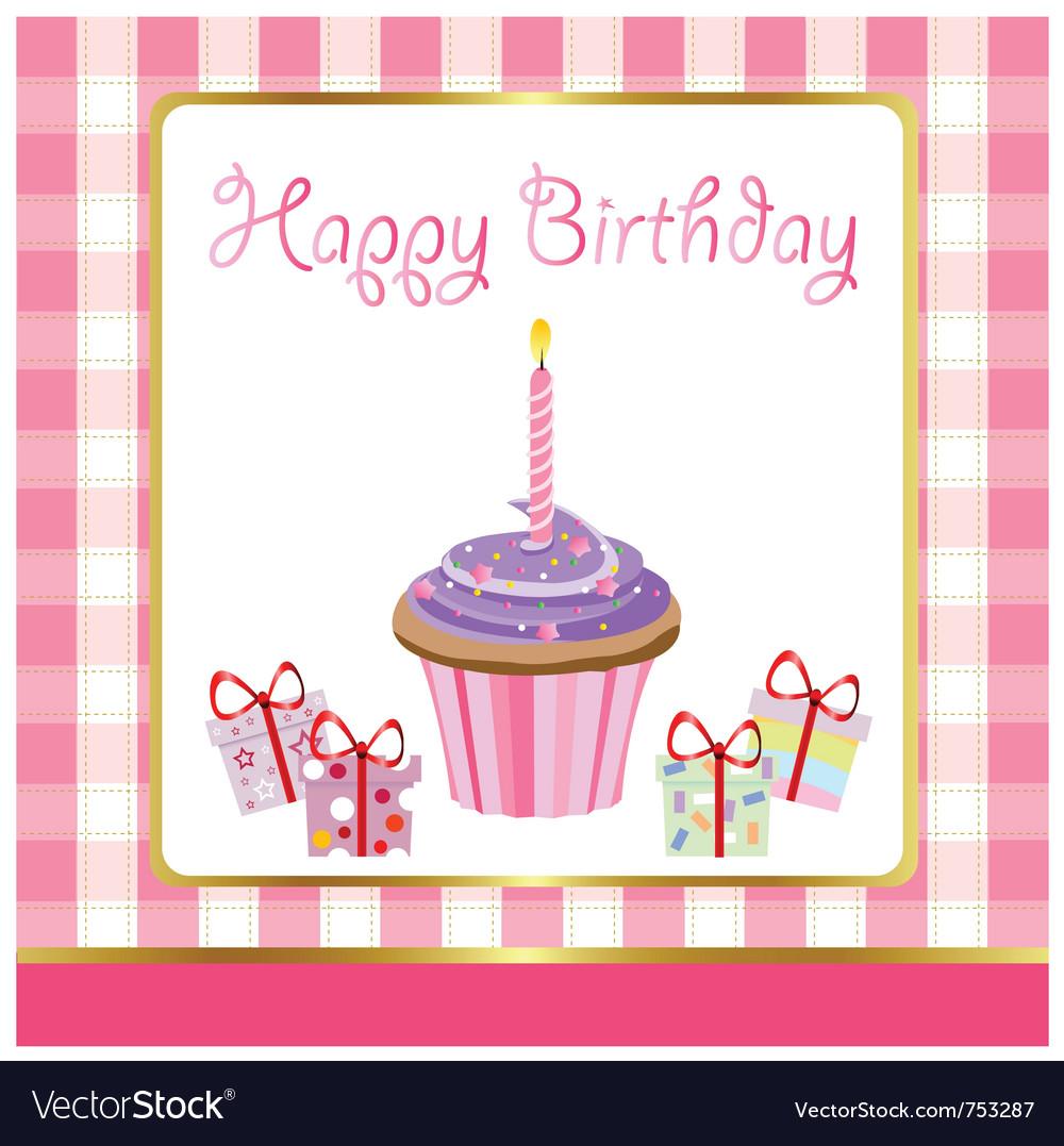 Happy Birthday Cupcakes Card Royalty Free Vector Image