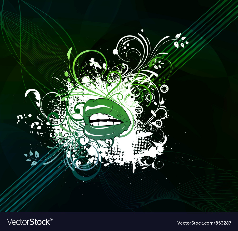 Mouth with abstract background vector image