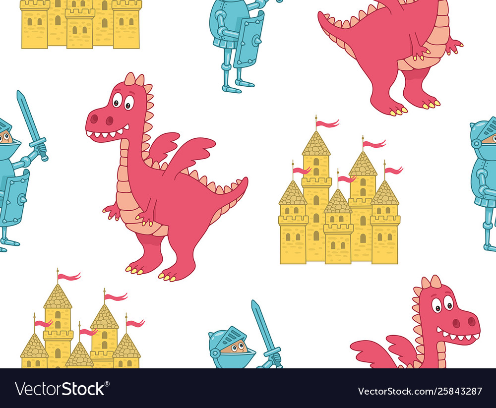 Seamless pattern with knight and dragon