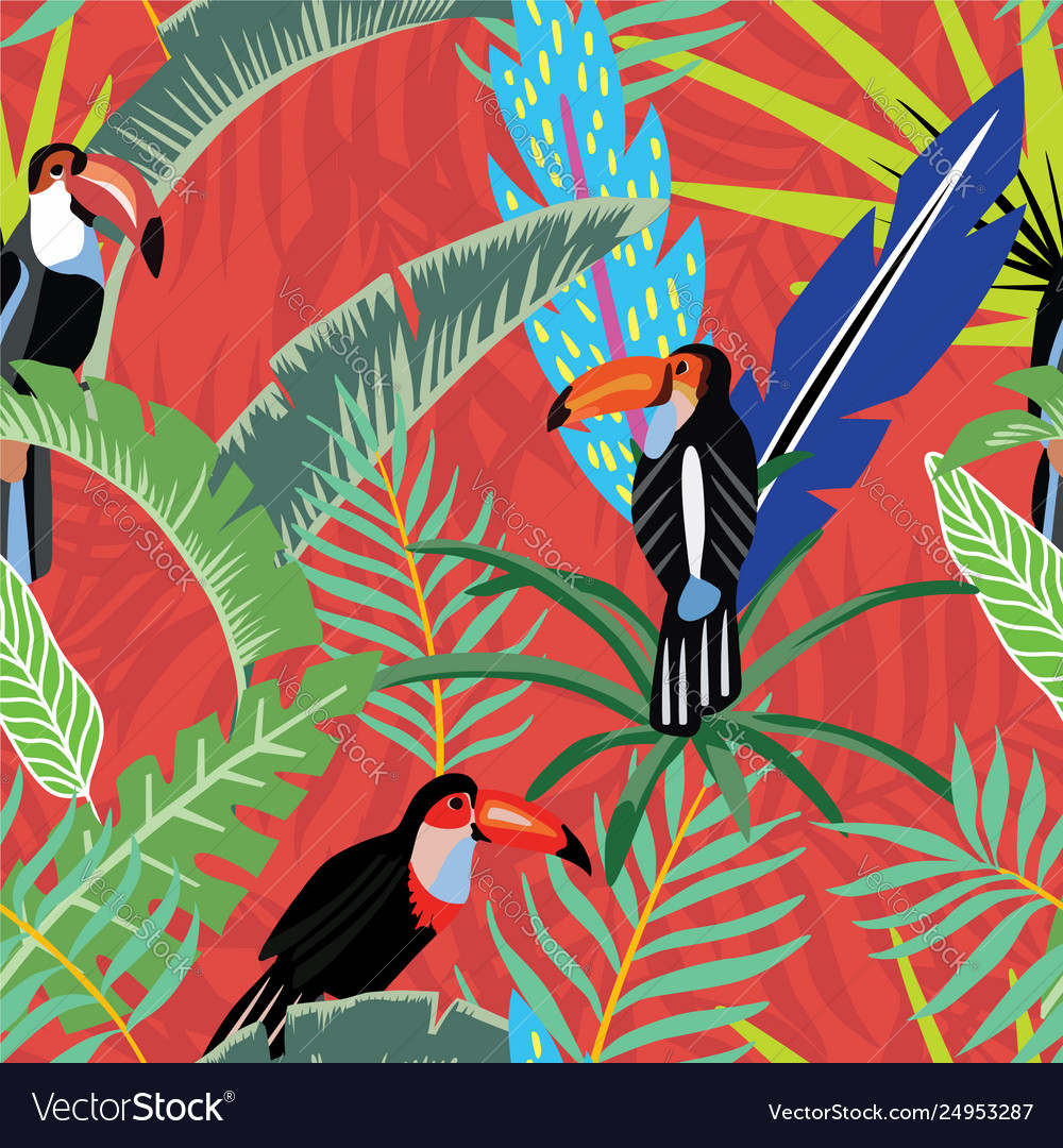 Toucans palm leaves cartoon style red orange