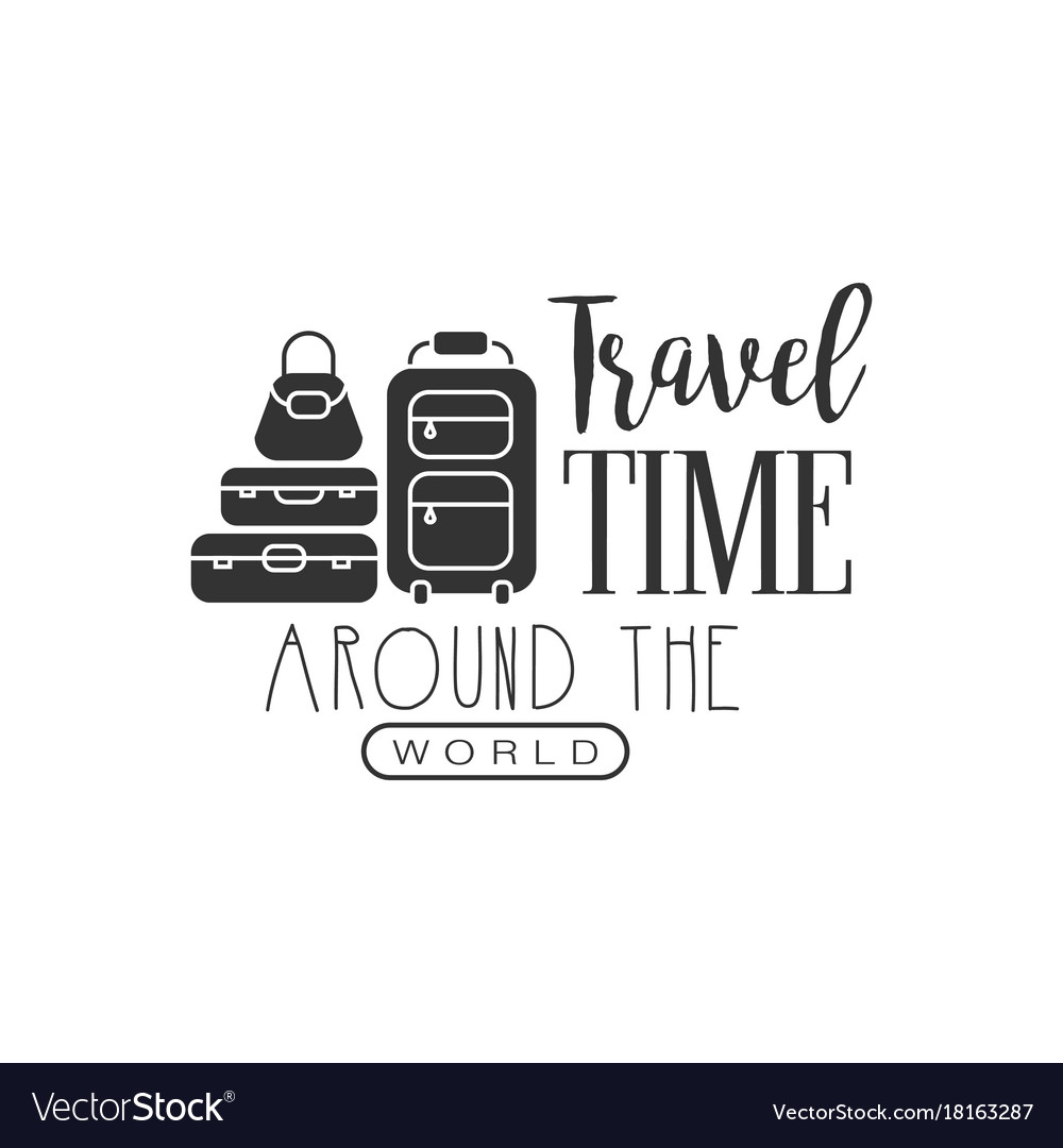 Travel label with suitcases silhouette and text