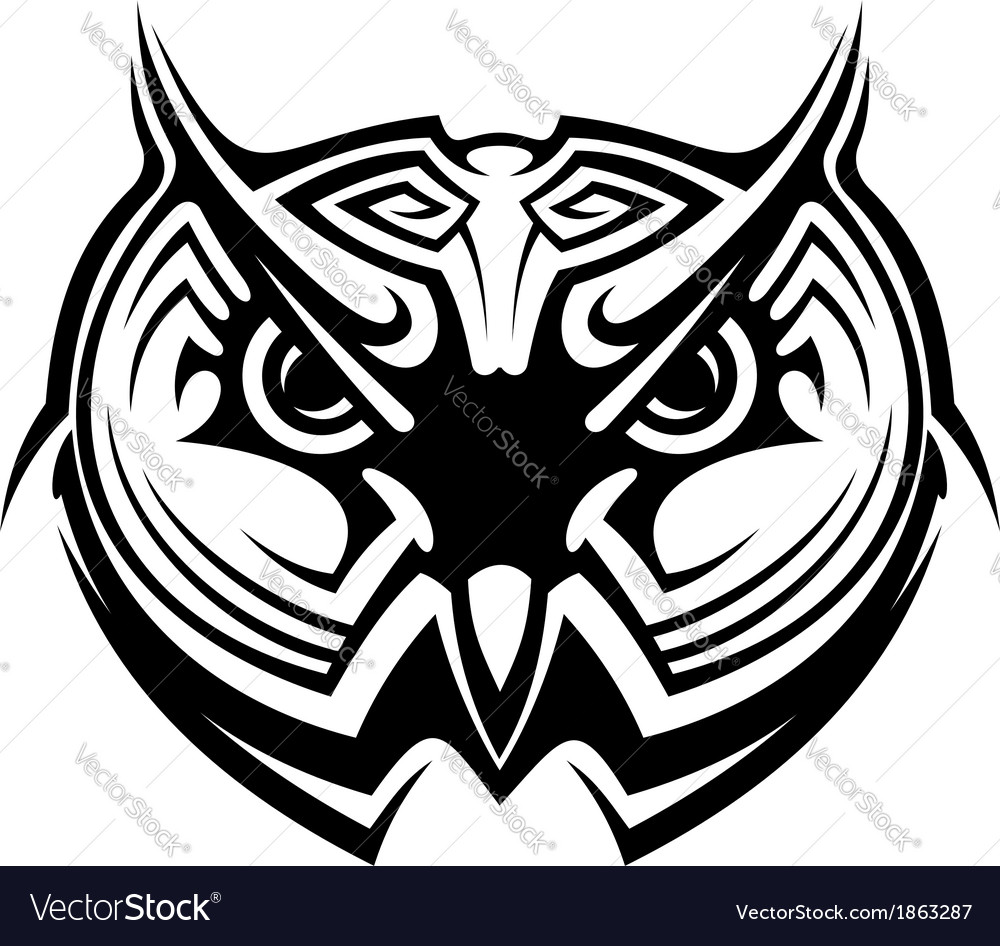 Tribal owl tattoo