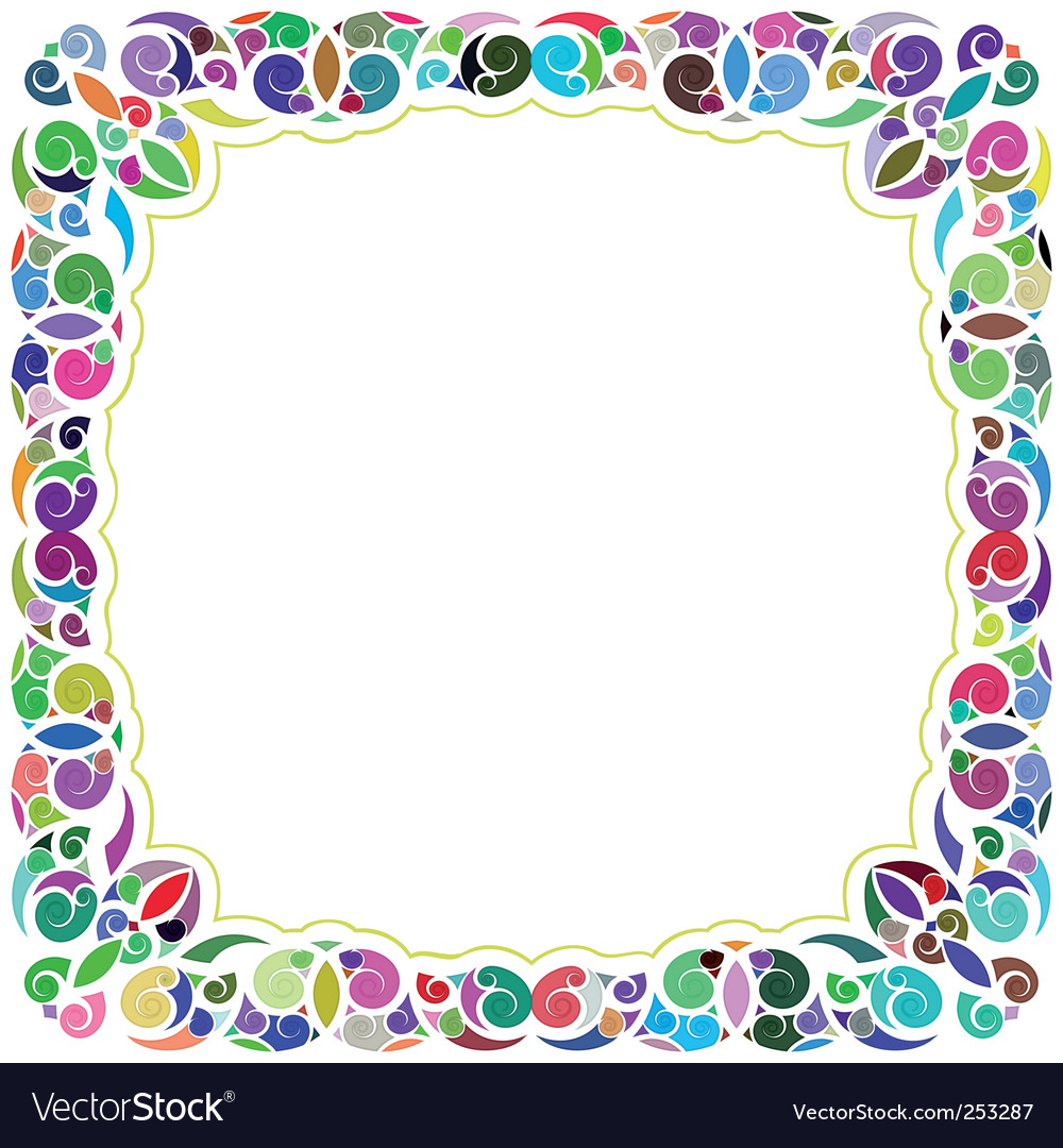 White and multicolored tropical framework Vector Image