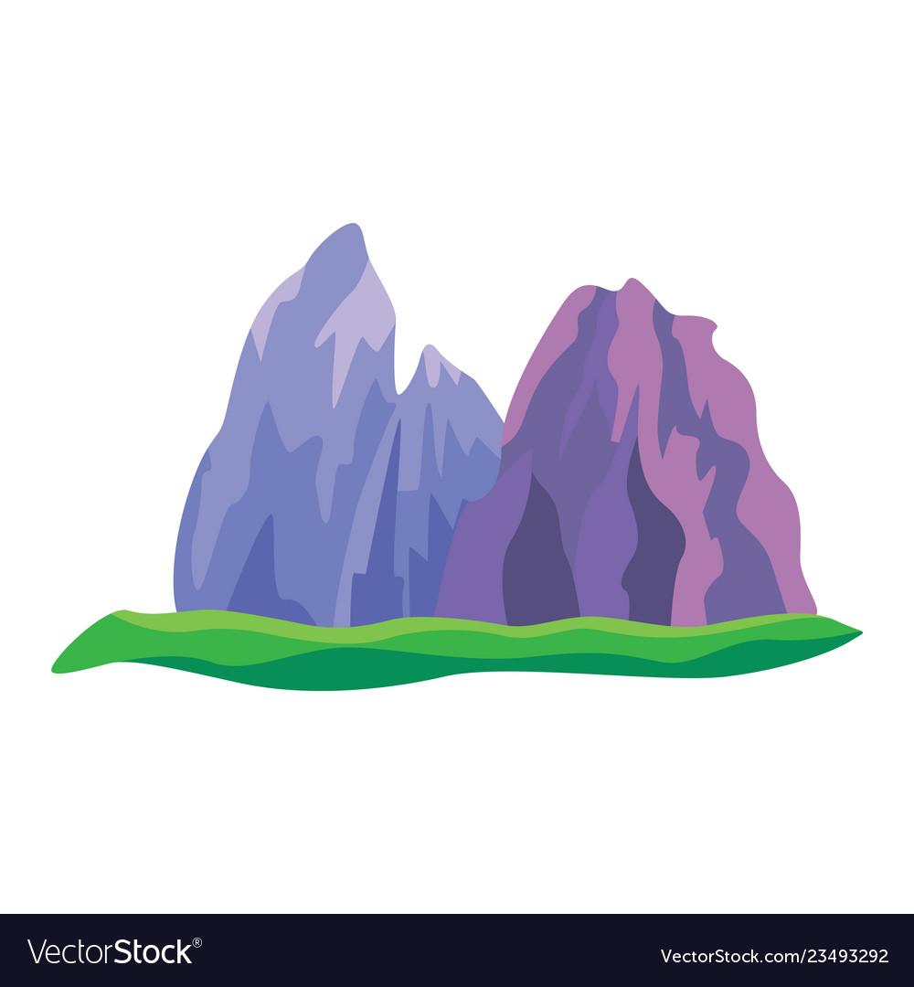 Abstract mountain rock black flat icon
