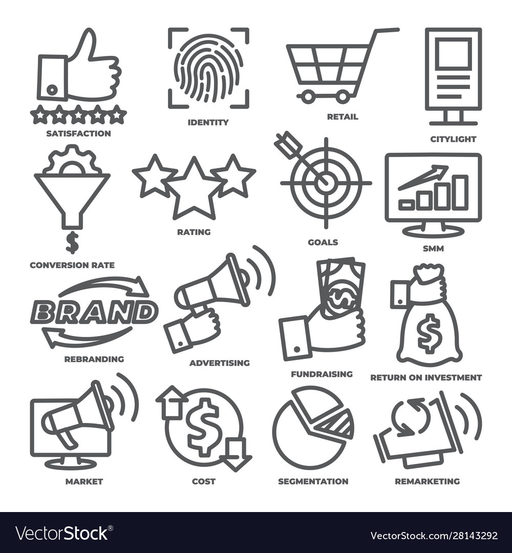 Business management line icons marketing and cost