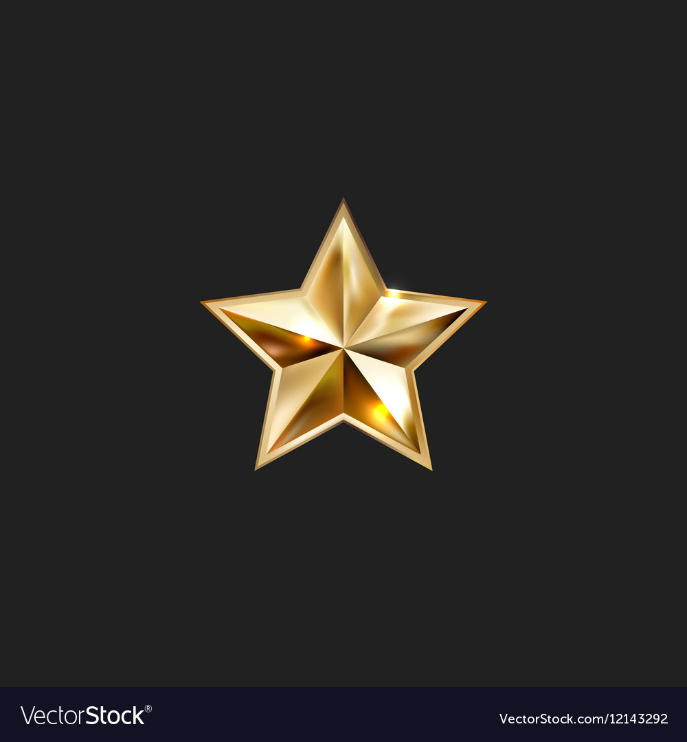 Hand drawing gold star with five rays elegant