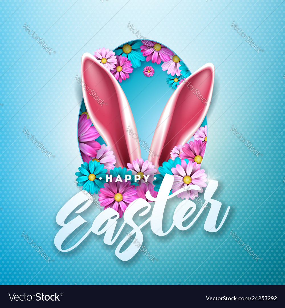 Happy easter holiday design with spring flower in