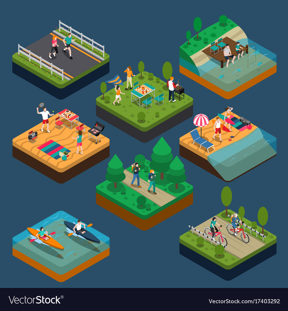 Isometric activity people composition