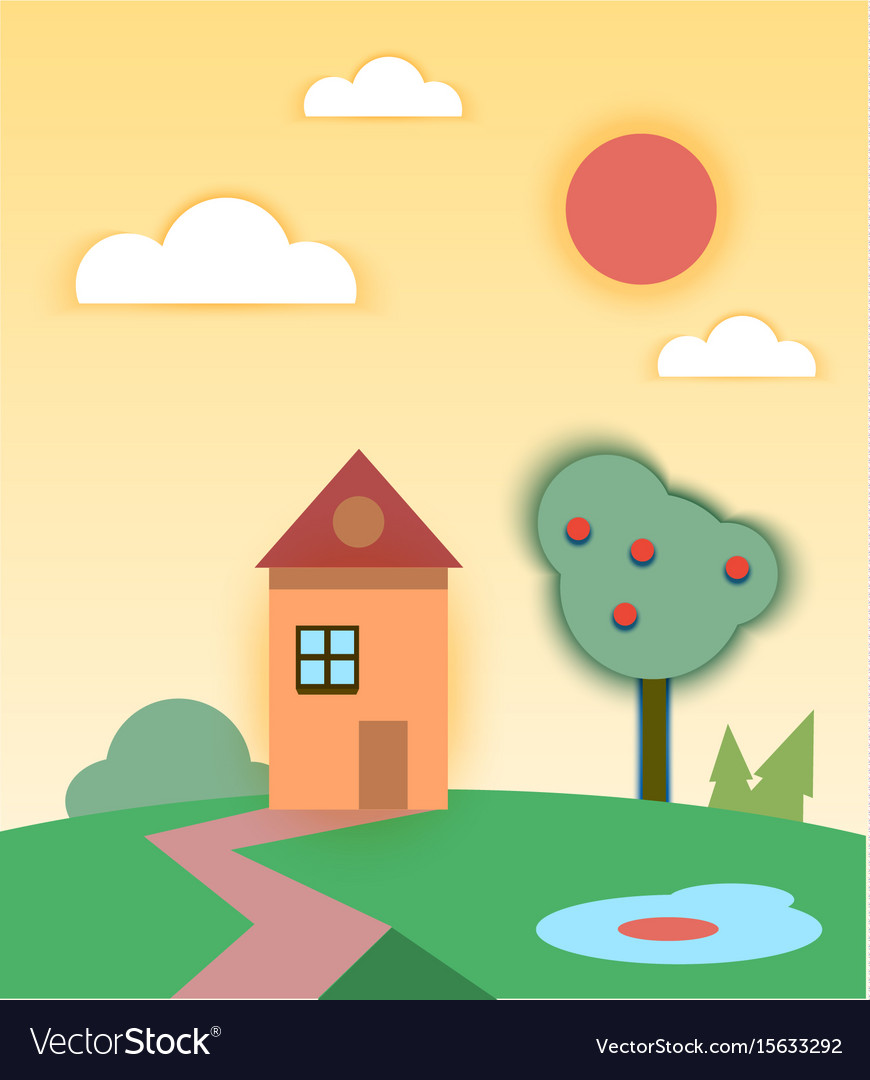 Rural summer landscape with house and tree vector image