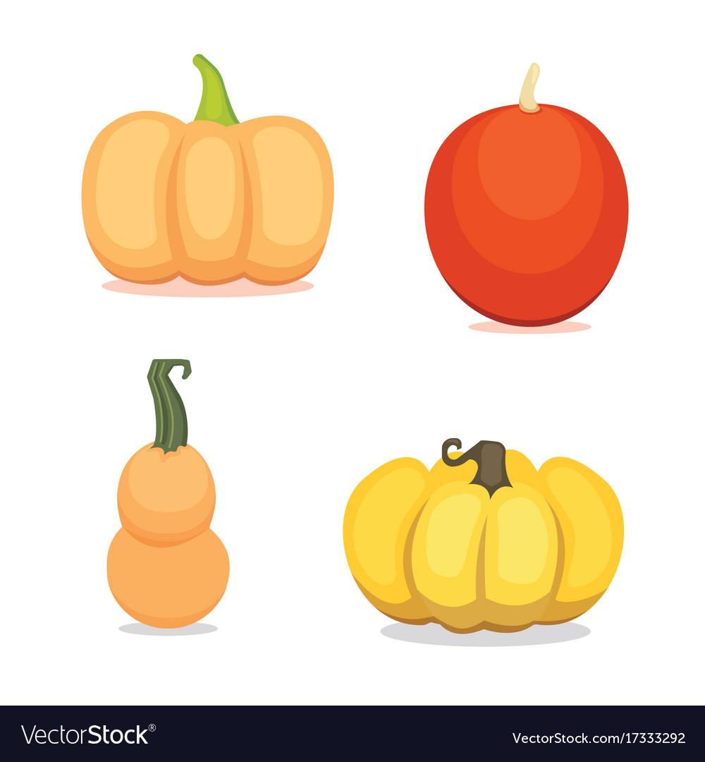 Set cartoon pumpkin isolated