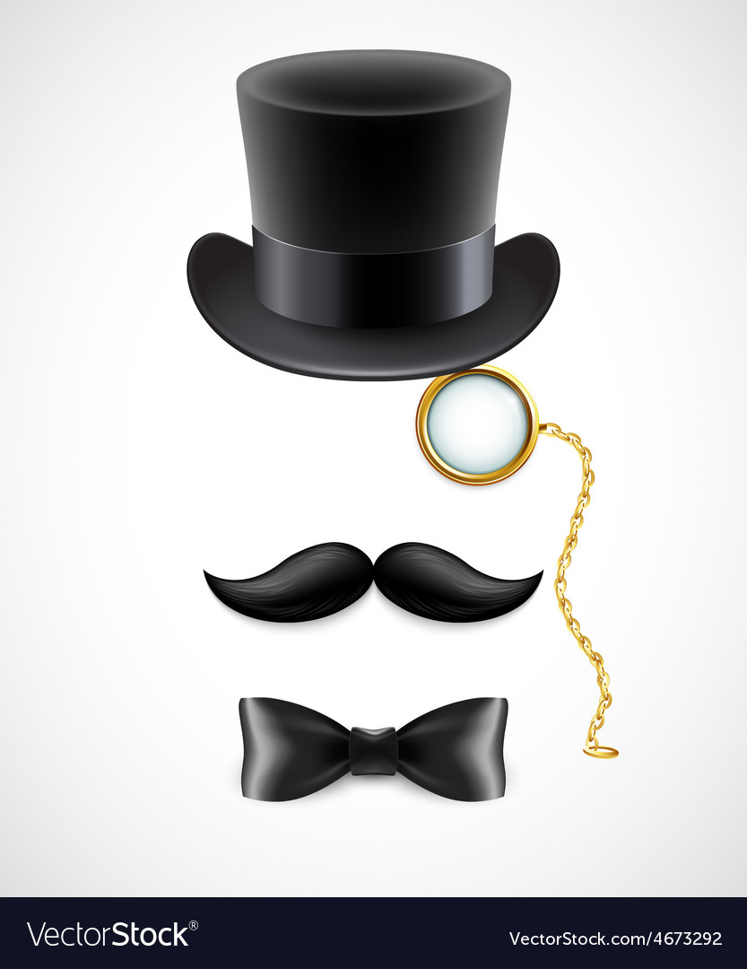 427375a9f55 Vintage silhouette of top hat mustaches monocle Vector Image
