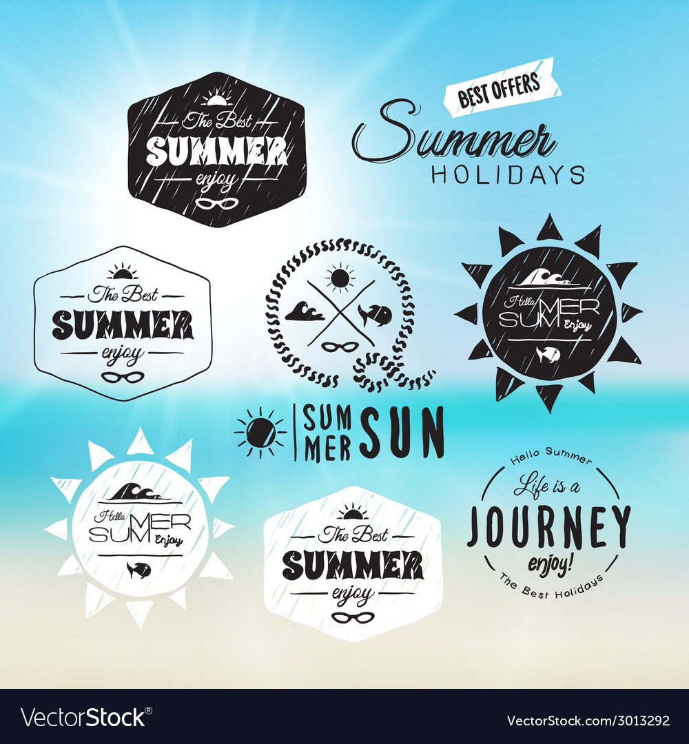 Vintage summer holidays typography design in