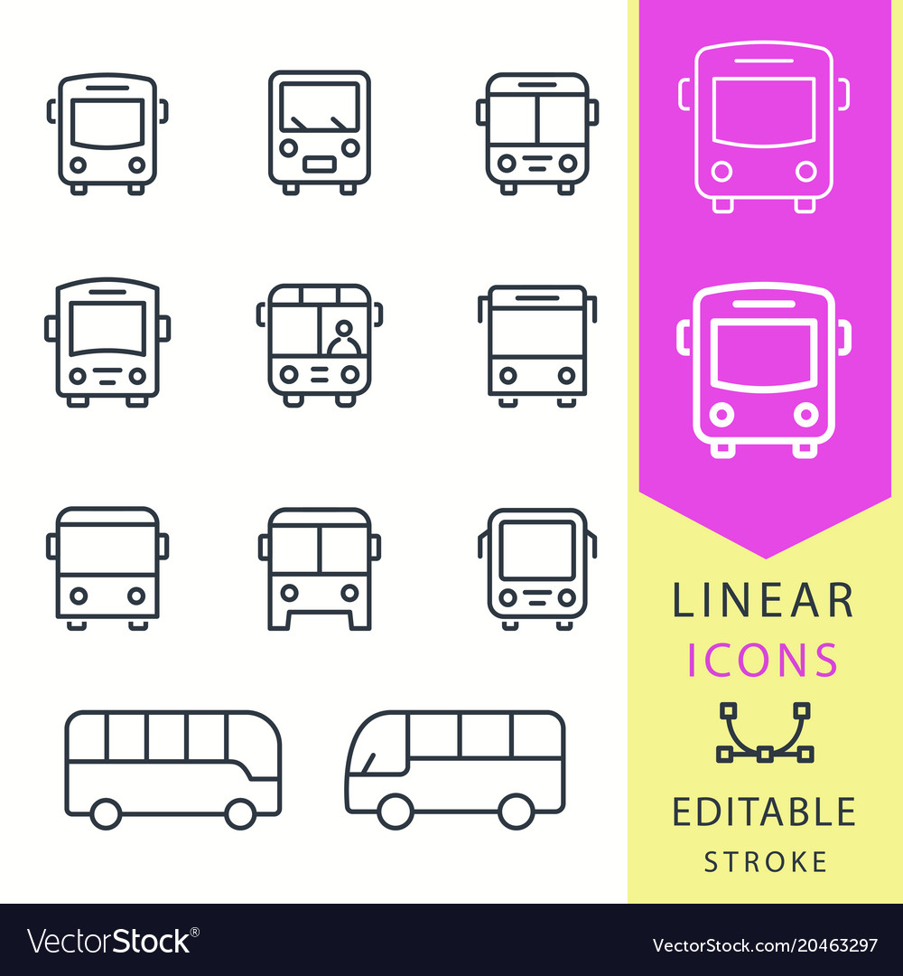 Bus - line icon set editable stroke