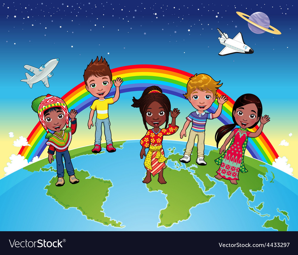 Children on the world vector image