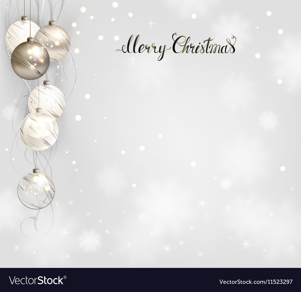 White Christmas Background.Elegant Christmas Background With Silver And White