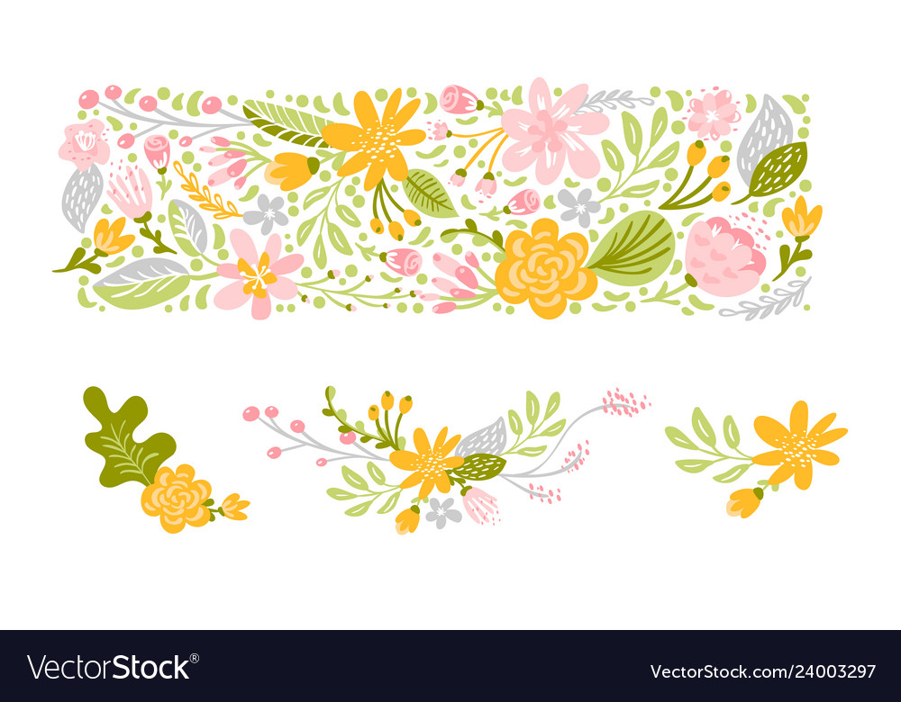 Flower set in pastel colors isolated