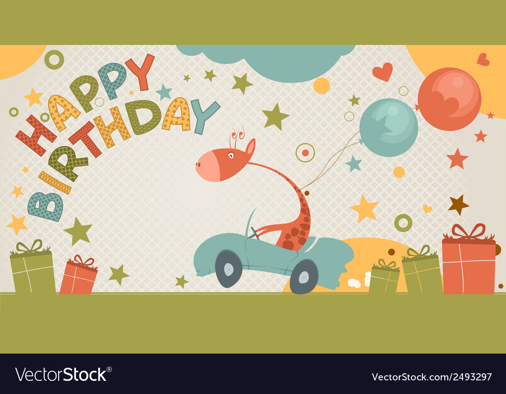 Happy birthday card with giraffe