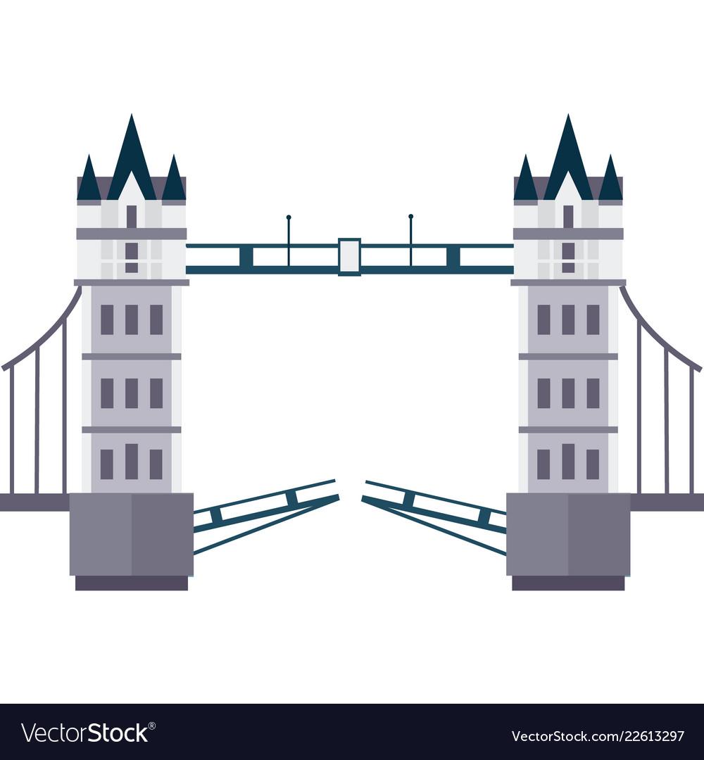 London tower bridge in flat style
