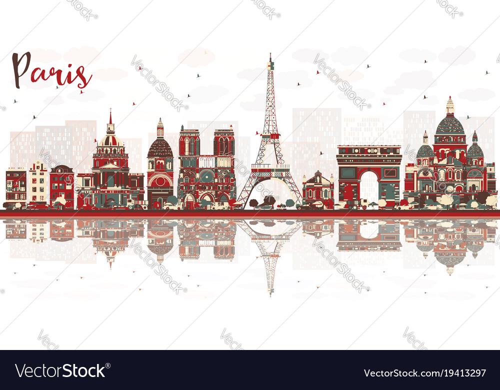 Paris france city skyline with color landmarks