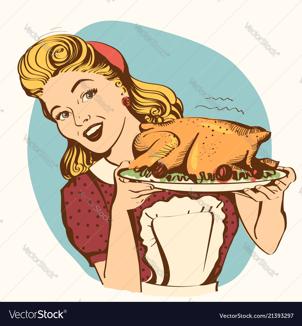 Retro smiling housewife cooks roasted turkey in