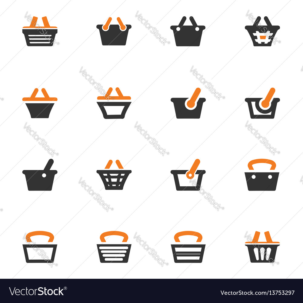 Shopping bascket icons set