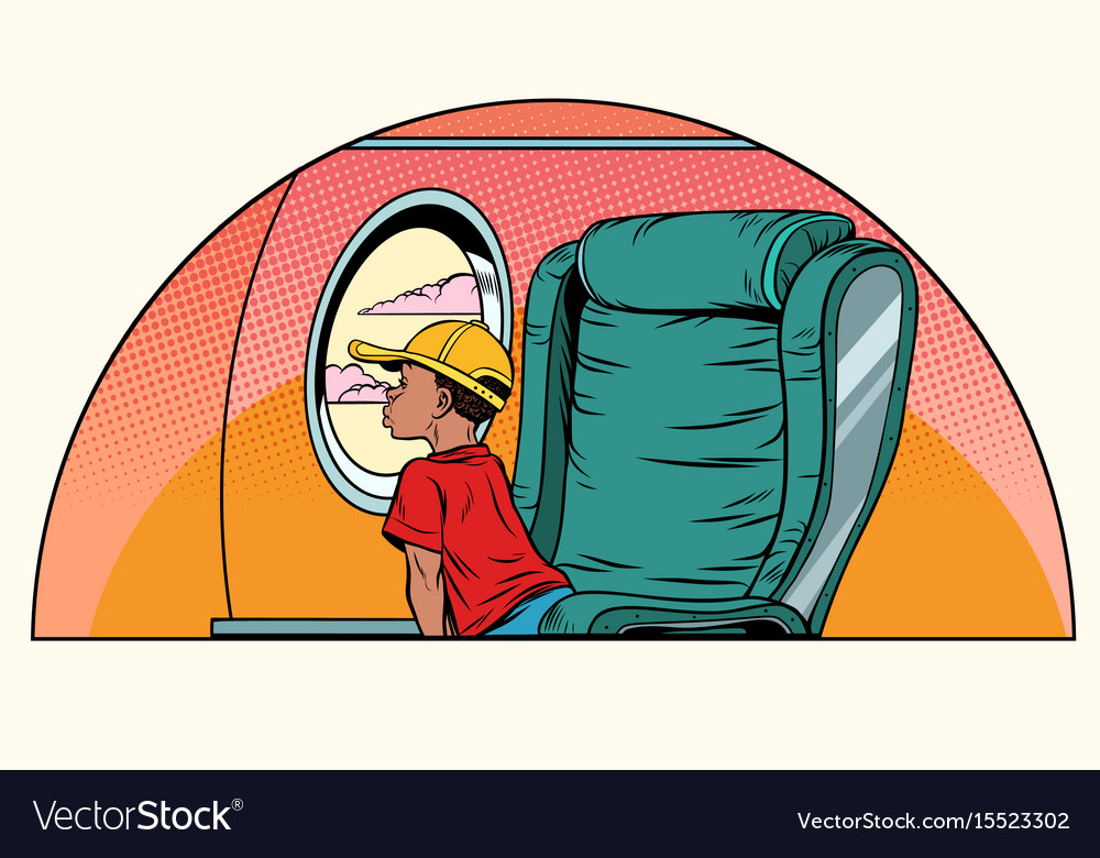 African boy passenger looks out the window on an