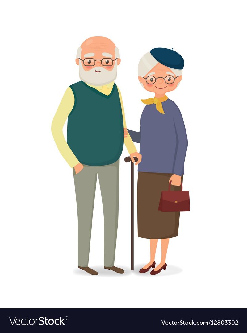 Elderly couple holding hands vector image