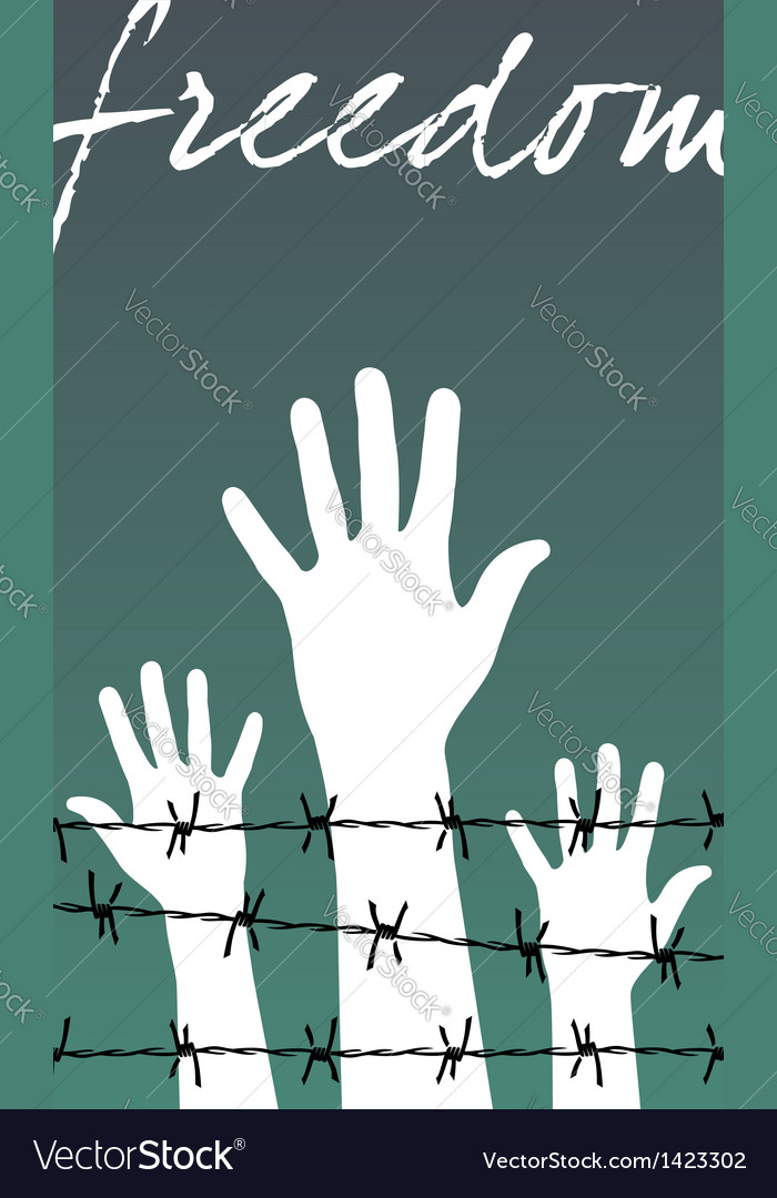 Hands behind a barbed wire prison with the word