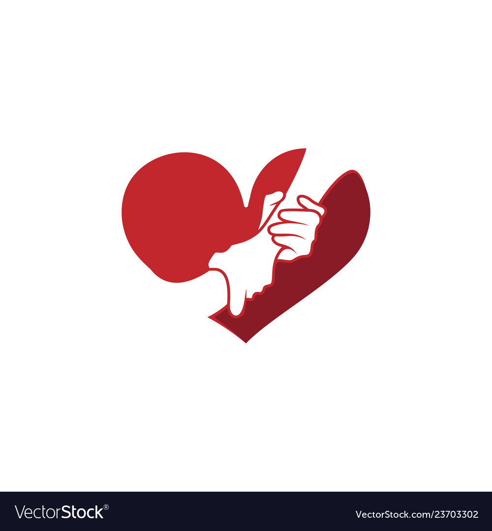 Helping hand with heart shape logo