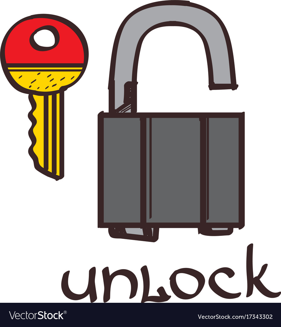 lock and key clipart color on a white background vector image rh vectorstock com  heart shaped lock and key clip art