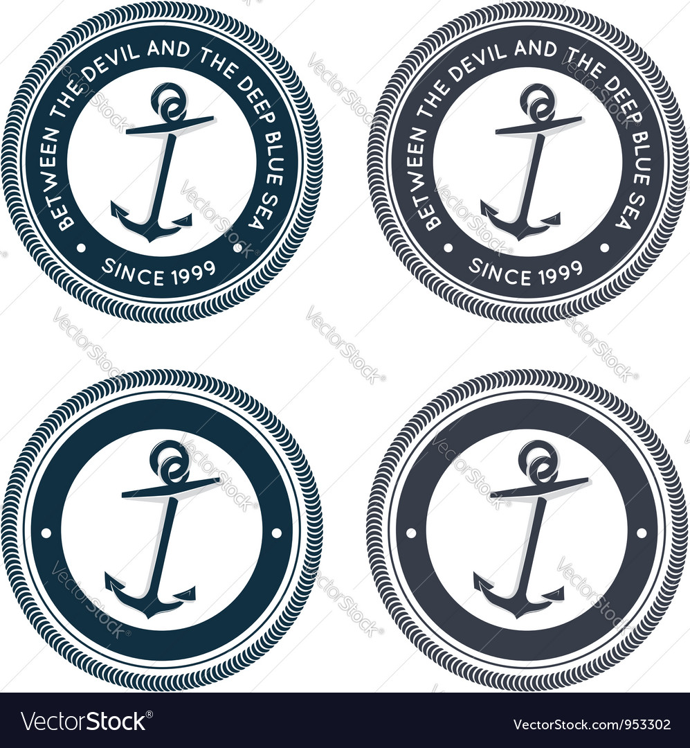 Nautical emblem with anchor vector image
