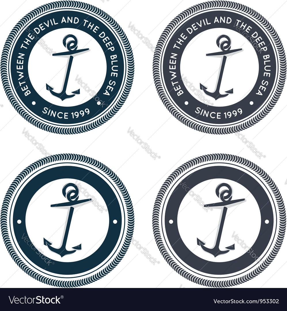Nautical emblem with anchor